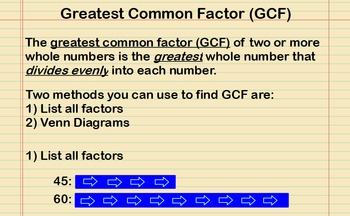Greatest Common Factor Presentation