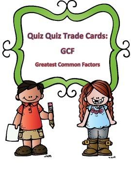 Greatest Common Factor Quiz Quiz Trade Cards