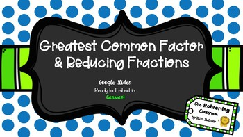 Greatest Common Factor & Reducing Fractions: Google Slides to Embed in Canvas