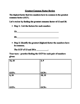 Greatest Common Factor Review and Practice Pages