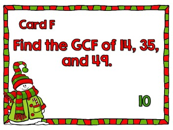 Greatest Common Factor Scavenger Hunt-A Holiday Themed Around the Room Activity