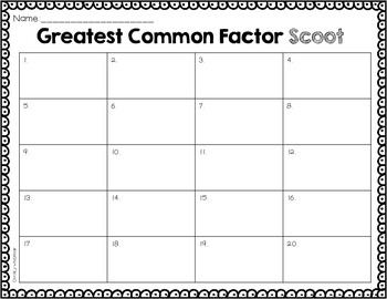 Greatest Common Factor Scoot!