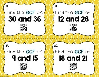 Greatest Common Factor Scoot! QR Code Edition