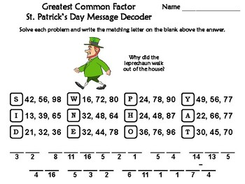 Greatest Common Factor St. Patrick's Day Math Activity: Message Decoder