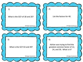 Greatest Common Factor Task Cards