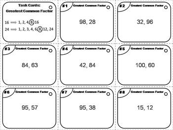 Greatest Common Factor Task Cards/ GCF Activity 4th 5th 6th 7th Grade