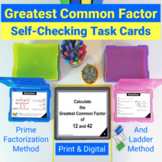 GCF Greatest Common Factor Self Checking Task Cards | PRINT