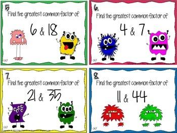 Greatest Common Factor Task Cards: Monster Themed!