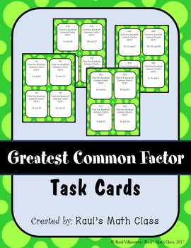 Greatest Common Factor Task Cards (Set 2)