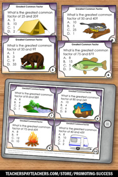 Greatest Common Factor Task Cards for Number Theory Unit GCF Camping Theme