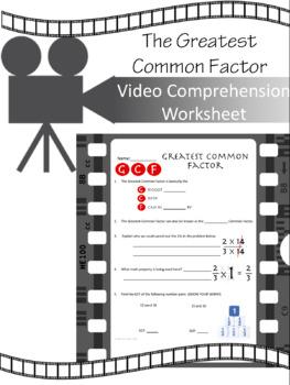Greatest Common Factor VIDEO WORKSHEET