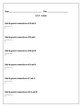 greatest common factor worksheet - Greatest Common Factor Worksheet