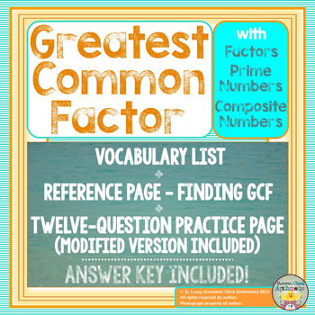 Greatest Common Factor - Worksheet, Vocabulary, and Reference Sheet