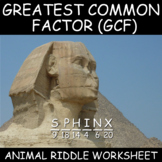 Greatest Common Factor Worksheet and Animal Trivia Puzzle