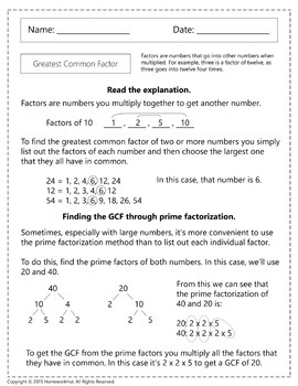 4.OA.4 - Greatest Common Factor Worksheets