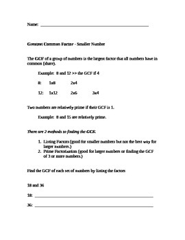 Greatest Common Factor and Least Common Multiple