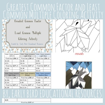 Greatest Common Factor and Least Common Multiple Coloring Activity