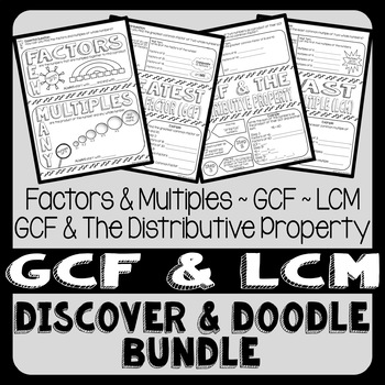 Greatest Common Factor and Least Common Multiple Doodle Notes Bundle