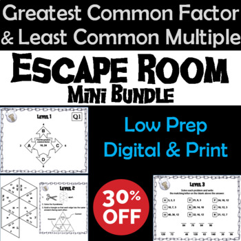 Greatest Common Factor and Least Common Multiple Escape Room Math (GCF and LCM)