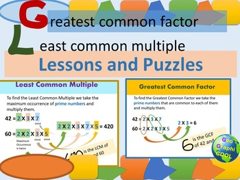 Greatest Common Factor and Least Common Multiple Lessons and Puzzles