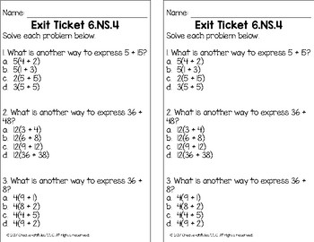 Greatest Common Factor and Least Common Multiple Math Tasks and Exit Tickets