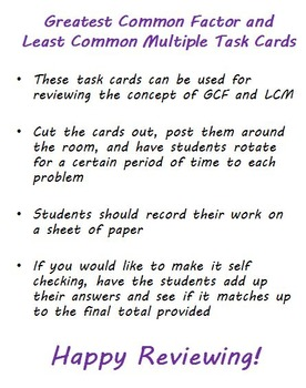 Greatest Common Factor and Least Common Multiple Problem Task Cards