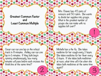 Greatest Common Factor and Least Common Multiple Task Cards