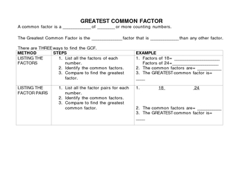 Greatest Common Factor (GCF) Notes and Organizer