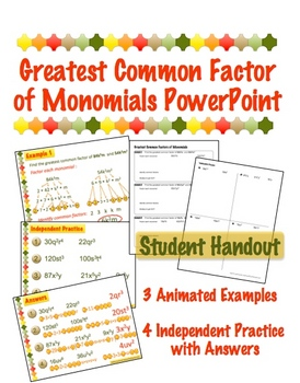 Greatest Common Factor of Monomials - PowerPoint & Handout