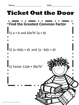 Greatest Common Factor of Polynomials No Prep Lesson