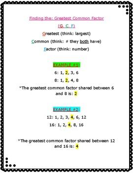 Greatest Common Factor reference sheet