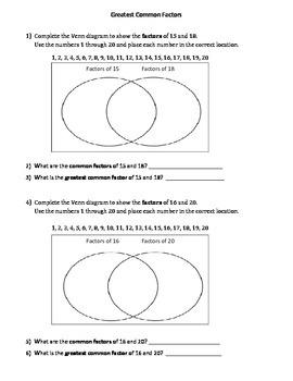 Greatest Common Factor using a Venn Diagram