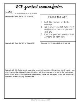 Greatest Common Factor within 100, 8 page Lesson Packet + Quiz, 4.OA.B.4 GCF