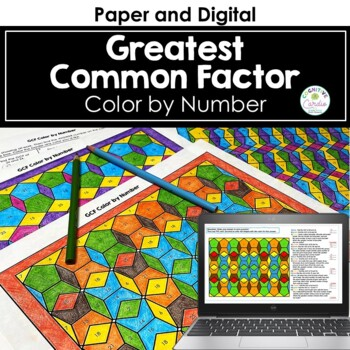 Greatest Common Factor (GCF) Color by Number