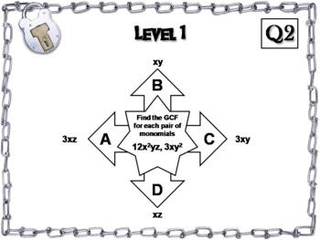 Greatest Common Factor (GCF) of Monomials Game: Algebra Escape Room Math