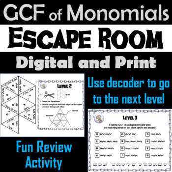 Greatest Common Factor (GCF) of Monomials Game: Algebra Escape Room Math