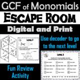 Greatest Common Factor GCF of Monomials Activity: Algebra Escape Room Math Game
