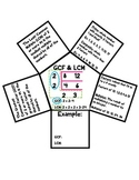 Greatest Common Factors, Least Common Multiples Fun Notes Organizer