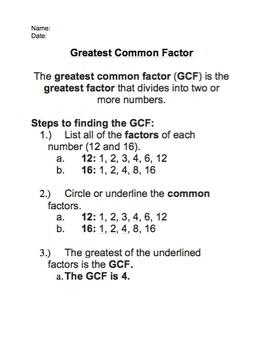 Greatest Common Factors, Least Common Multiples, Prime Factorization BUNDLE!!