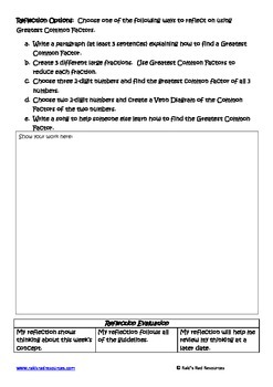Greatest Common Factors Lesson for Interactive Math Notebooks