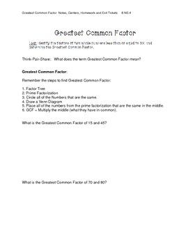 Greatest Common Factors: Notes, Center Ideas, Homework, Exit Ticket