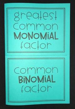 Greatest Common Monomial & Binomial Factor (Algebra Foldable)