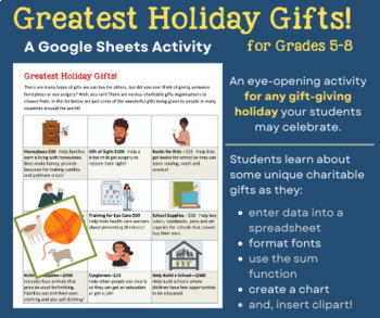 Greatest Holiday Gifts! GOOGLE Sheets & MS Excel Activity for Grades 4-8