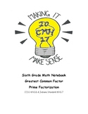 Greatest common factor and prime factorization Math Notebook