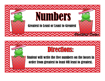 Greatest to Least - Frogs in a Box 120 to 1200 - Activity Cards