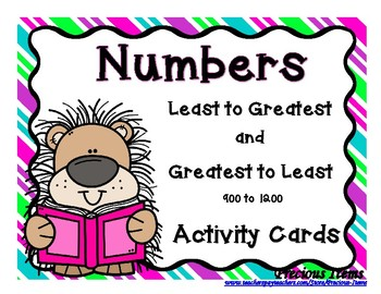 Greatest to Least & Least to Greatest 900 to 1200 Activity Cards