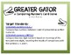 Greator Gator Card Game: comparing numbers vocab.