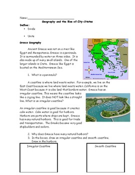 Greece Geography, City-States, and Alexander the Great Worksheet
