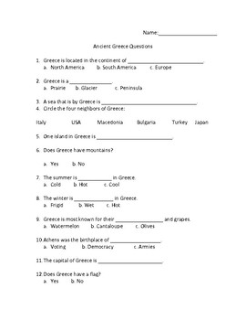 Greece Geography Questions