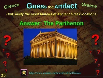 """Two Greece """"Guess the artifact"""" games: engaging PPT w/ pictures, clues & answers"""